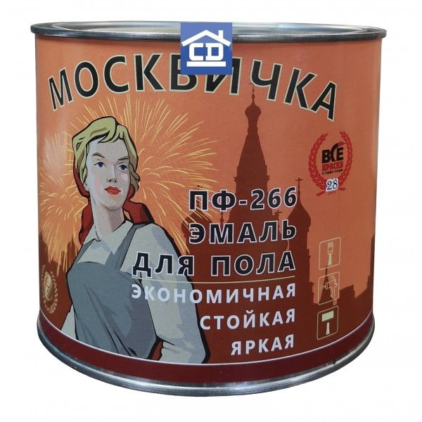 Краска для пола красно-коричневая 25 кг Москвичка